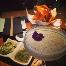 Guacamole, Salsa & Chips, and a Cocktail